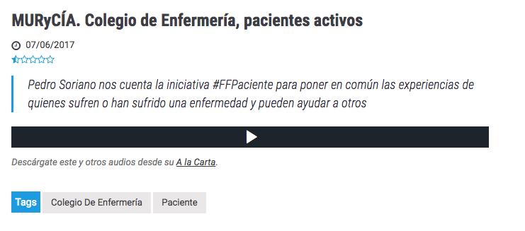 #FFpaciente en el programa Onda Regional de Murcia